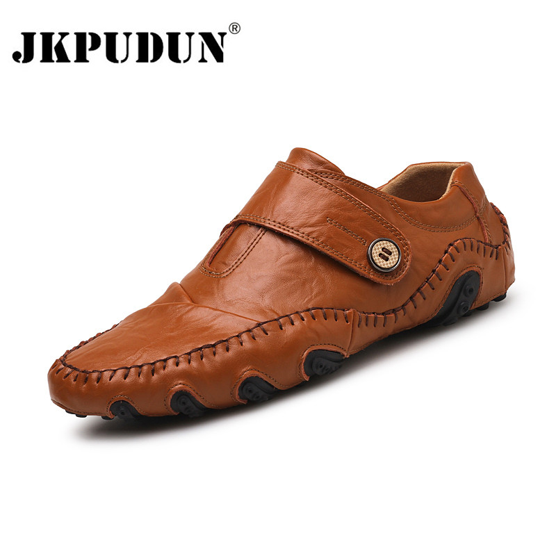 JKPUDUN Genuine Leather Men Casual Shoes Luxury Brand 2019 Mens Loafers Fashion Breathable Driving Shoes Slip On Comfy Moccasins