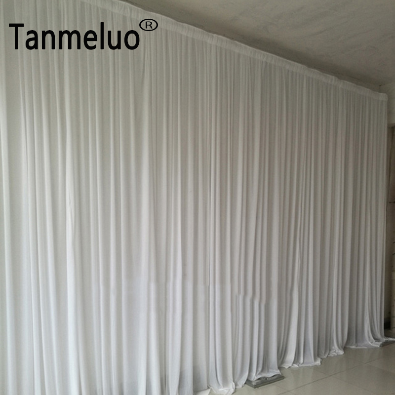 4 8m pure white fabric backdrop drapes curtains wedding ceremony event party stage background for wedding decoration