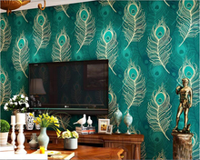 beibehang Southeast Asian style Chinese peacock feather wallpaper nonwoven fabric Bedroom living room TV background wall paper beibehang bohemian ethnic wallpaper bedroom living room background wall paper roll imitation tile beauty salon southeast asian