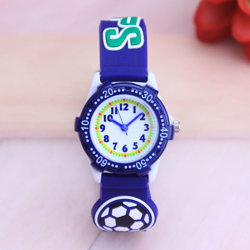 2018 Famous Brand Men Acrylic 3D Cartoon Football Silicone Quartz Watches For Children Boys Kids Cool Waterproof Wristwatches