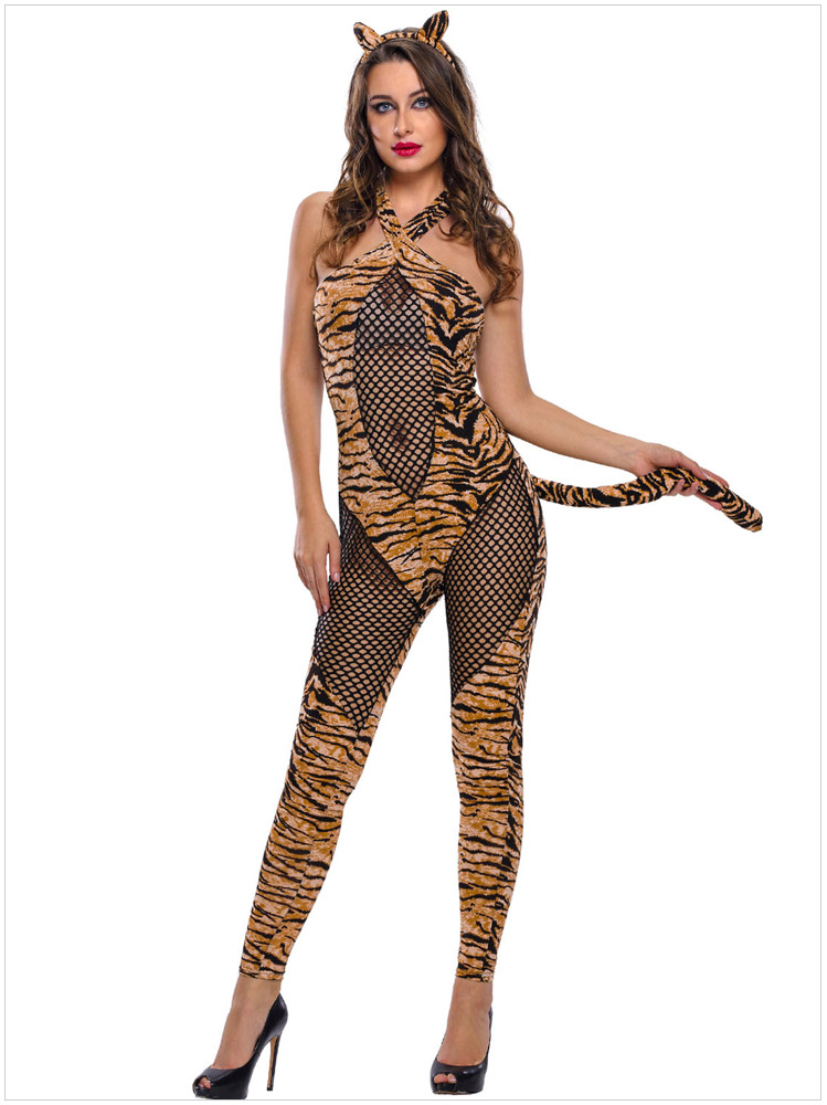 sexy cat tiger halloween costumes bodysuit women jumpsuit uniform outfit naughty costumes catsuit in sexy costumes from novelty special use on - Halloween Naughty Costumes