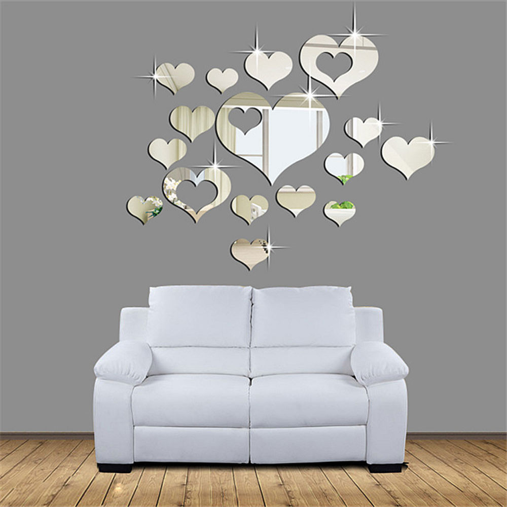 15 Pcs/Set 3D Mirror Surface Wall Stickers Plastic Love Heart Shape Art Decal Multi-size Removable Home Party Room Decor F507
