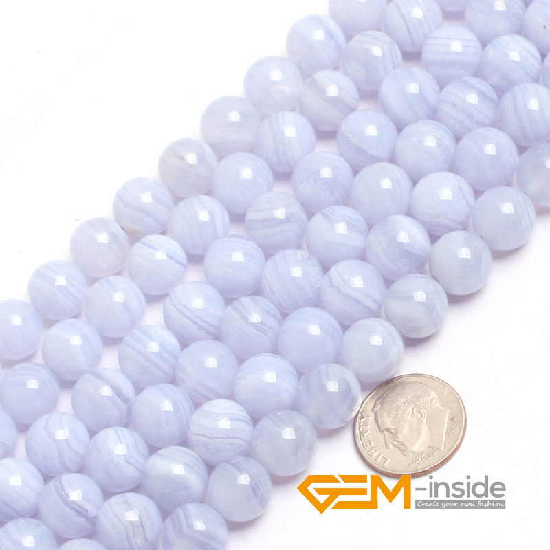 """Image 3 - Natural Stone Blue Chalcedony Round Beads For Jewelry Making Strand 15"""" DIY Bracelet Necklace Jewelry Bead 6mm 8mm 10mm 12mm-in Beads from Jewelry & Accessories"""