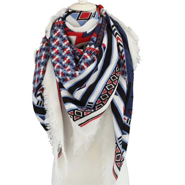 [El himno A la Alegría] Nueva moda Invierno estampado geométrico cuadrados Mujeres Bufanda Pashmina Chales y Bufandas Suaves 140*140 cm
