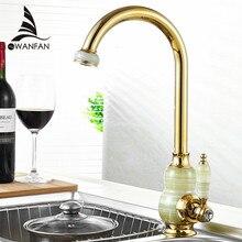 NOVAS Torneiras de Cozinha de Ouro com Jade Swivel Bacia Sink Toque Mixer Noble Lindo misturador torneira da cozinha único punho Torneira LH-17011