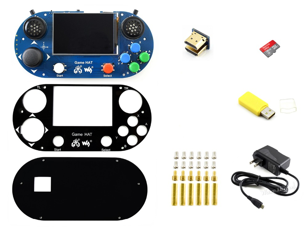 Waveshare Video Game Console Pack G for Raspberry Pi Recalbox/Retropie Micro 16GB SD Card 5V/3A Power Supply-in Demo Board from Computer & Office