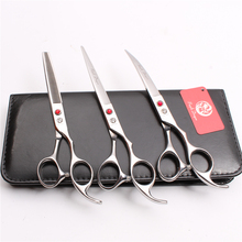 Z3003 3Pcs 7 Silvery Japan Steel Cutting Shears + Thinning Scissors Down Curving Professional Pets Hair Suit