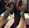 Bling do Pavão Cristais Mermaid Vestido de Noiva Custom Made 2017 Vestido De Festa Querida Longo Sexy Sheer Vestido de Festa de Casamento