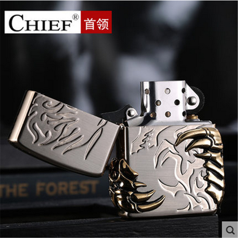 Image 5 - Talon Lighter Men Gadgets Dragon Paw Kerosene Oil 3D Petrol Lighter Gasoline Retro Relief Lighter-in Cigarette Accessories from Home & Garden