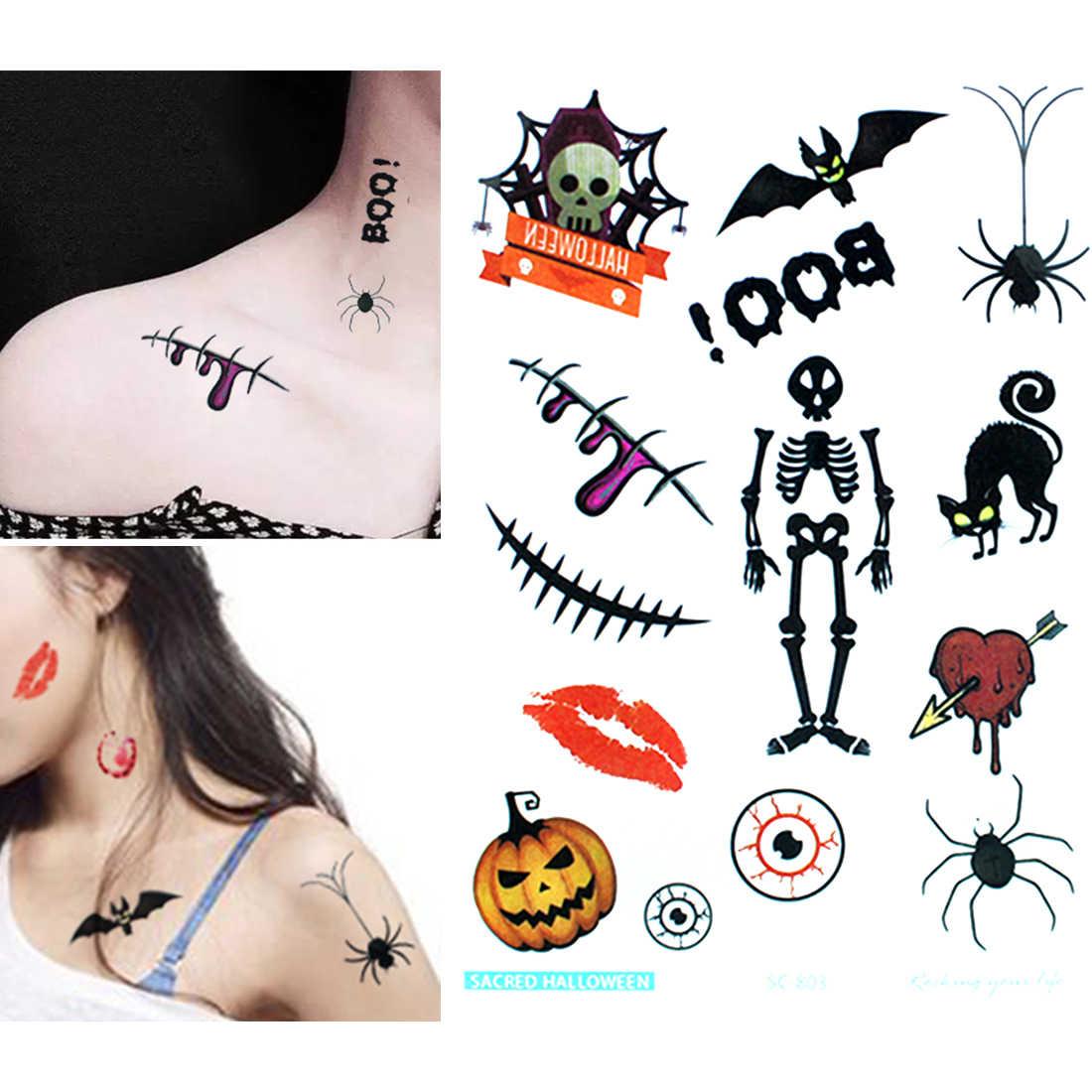 Halloween DIY Aufkleber Dekoration Prop Ghoul Hand Skeleton Kreuz Tattoos Mit Gefälschte Schorf Make-Up Selbst-made Halloween Dekoration
