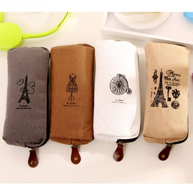 2019 Retro Canvas Pencil Pen Case Large Capacity Cosmetic Makeup Bags Pouch Zipper Bags Mini Bag Students Bag 4 Color