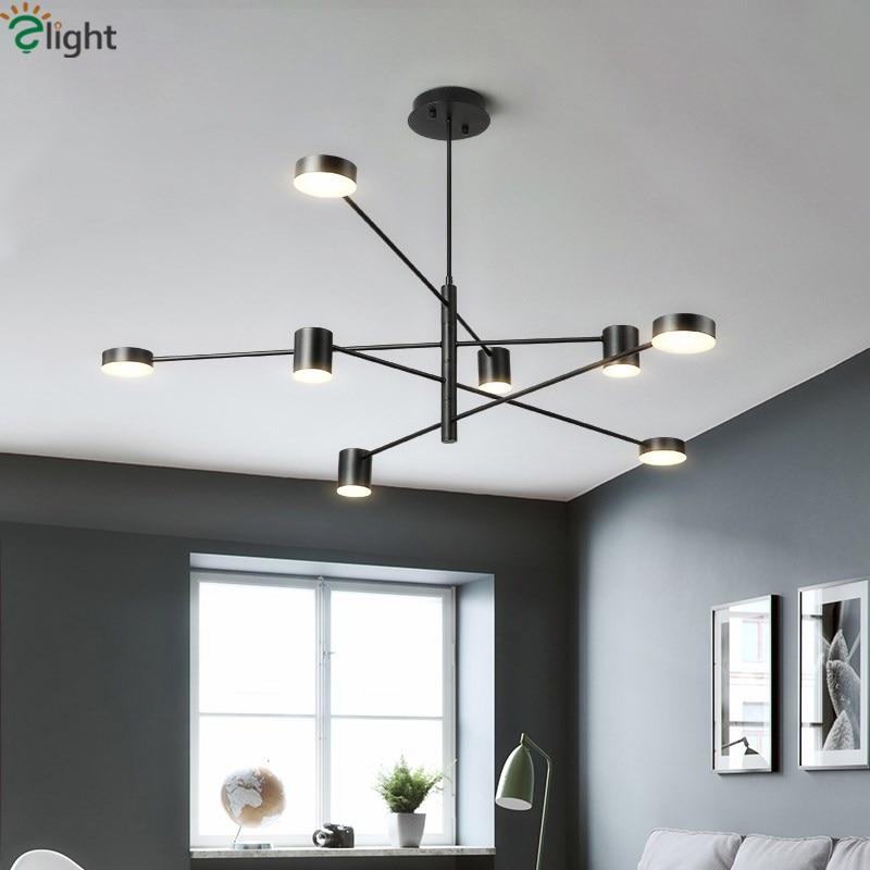 Post Modern forgatható fém led csillár függő csillár világítás arany / fehér / fekete led csillár világítás led lámpatest