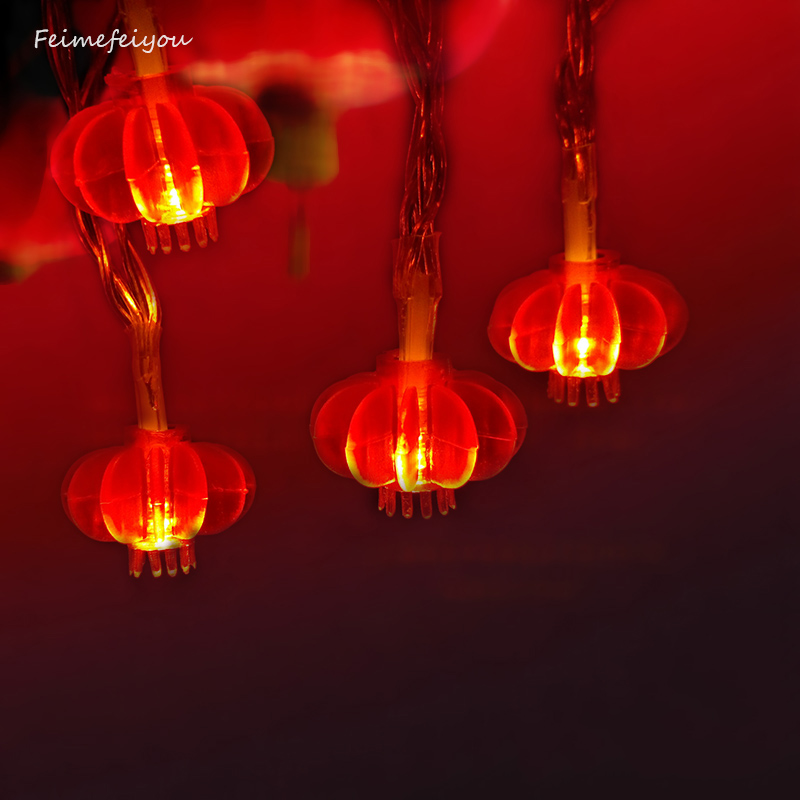 2M 20 LED Red Lanterns String Lights For Wedding, Chinese New Year,Spring Festival,Party Decoration,Christmas.