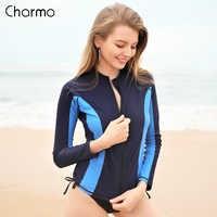 Charmo Frauen Lange Sleeve Zipper Rashguard Badeanzug Surfen Top Rash Guard Zipper UPF50 + Laufschuhe Shirt Radfahren Shirt Bademode