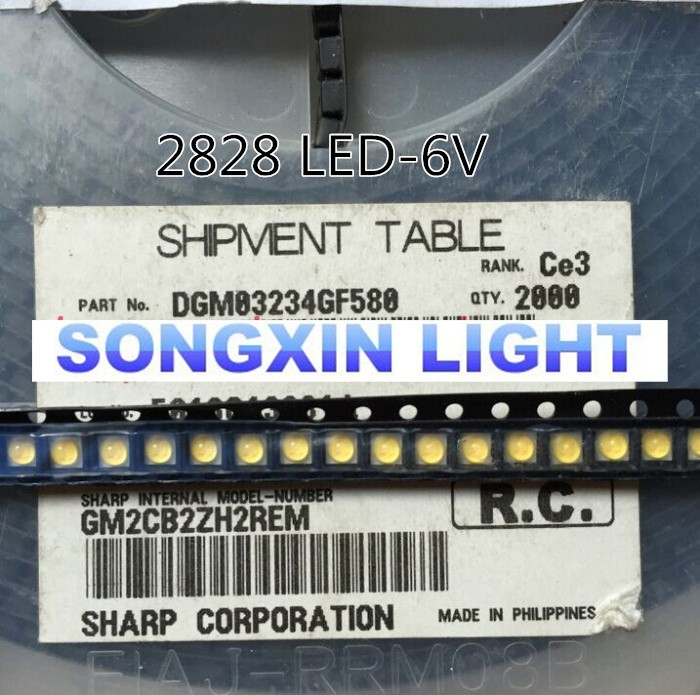 Active Components 1000pcs Led Backlight Middle Power Led 0.5w 3v 2828 Cool White 43lm Gm2bc2zf2gcm Lcd Backlight For Tv Tv Application For Sharp Diodes