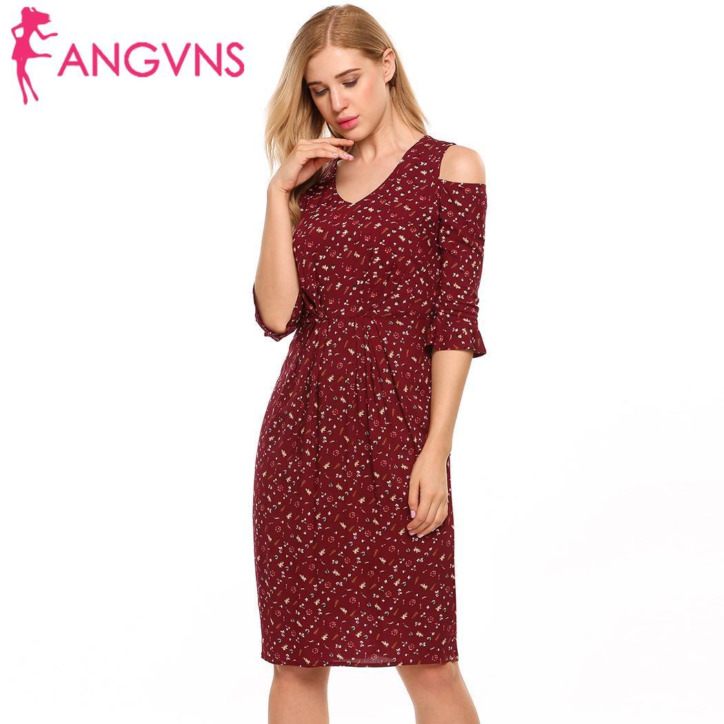 ANGVNS Dámské volánové šaty se studeným ramenem V-Neck Flare rukáv Vintage Květinový tisk Letní šaty Sexy Slim Package Hip Sheath Dress