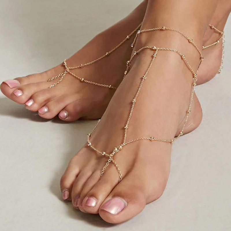 1 Piece Gold Color Anklets For Women Chain Ankle Bracelet Sandals Brides Shoes Barefoot Beach Jewelry Gift Foot Accessories