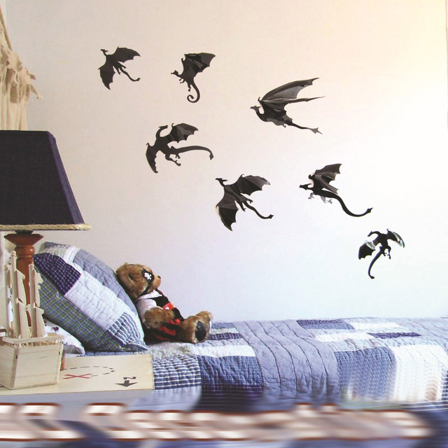 Dragon Silhouette Vinyl Wall Stickers Birds Fantasy Fairytale Gothic Abstract Sticker Decor Living Room Art