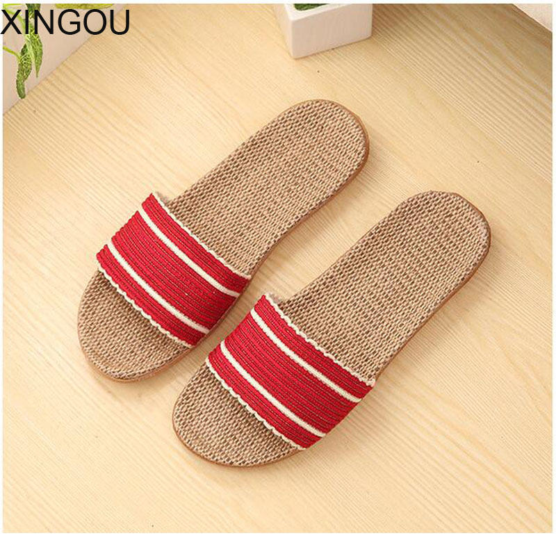 New 2018 home womens slippers spring/summer flax Comfortable female slippers fresh indoor home slipper and slides   New 2018 home womens slippers spring/summer flax Comfortable female slippers fresh indoor home slipper and slides