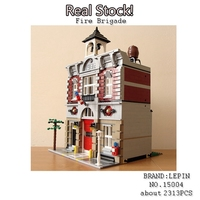 Lepin 15004 City Street Creator Fire Brigade Model Doll House Building Kits Figures Blocks Compatible With