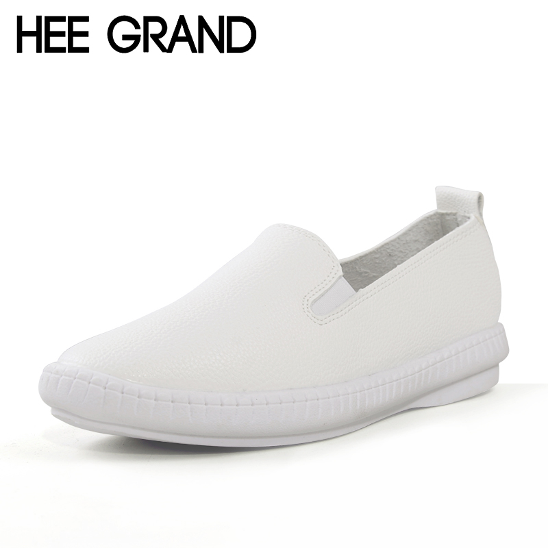 HEE GRAND Casual Flat Shoes Woman Spring Solid Loafers Slip On Flats Fashion Round Toe Women Shoes 3 Colors Size 35-40 XWD3064 odetina 2017 spring elegant driving shoes loafers women fashion pointed toe flats slip on boat shoes grandma casual flat shoes