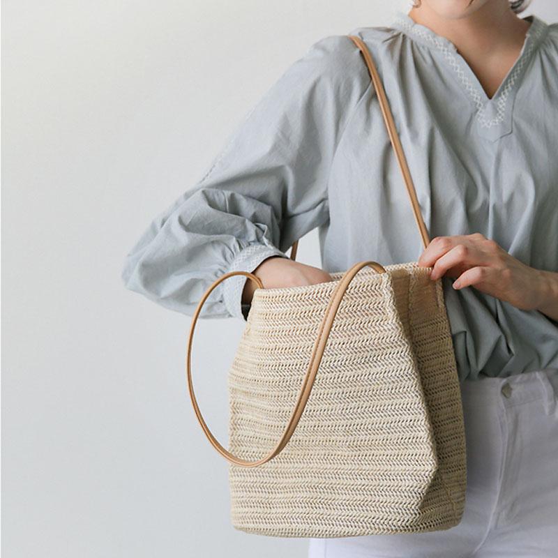 23x24CM The New Straw Bag  Blasting Shoulder Bag 2017 Summer Vacation Weaving Bucket Beach Bag A4144