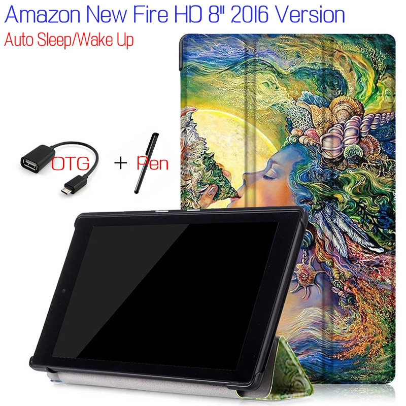 New Fashion Stand Flip Smart PU Leather eBook Cover for Amazon Kindle New Fire HD 8 Tablet Case With Magnet+Free OTG+Stylus Pen new kindle fire hd8 flip pu leather case cover colorful print luxury protective stand shell for amazon new kindle fire hd 8 2016