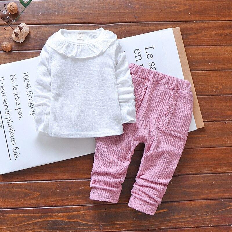 2018 Весна для маленьких девочек одежда Одежда для малышей Модный комплект хлопка с длинными рукавами футболка + жилет + Брюки для девочек нов...