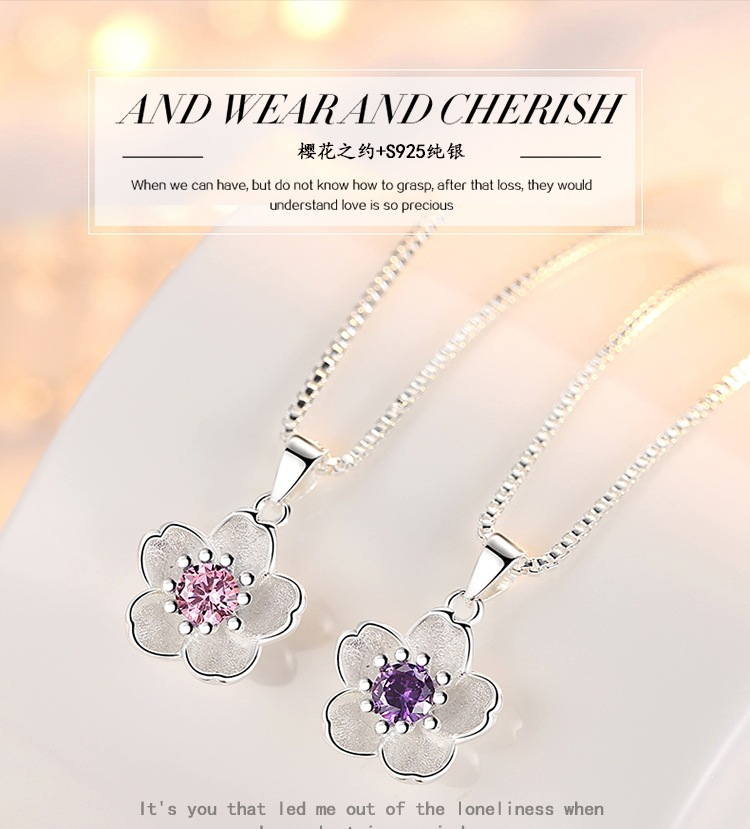 HTB19otFacnrK1RkHFrdq6xCoFXaG - Cherry Blossoms Necklace Flower Silver Chain Color Pink Purple Crystal Pendant Necklaces Jewellery Collier Femme