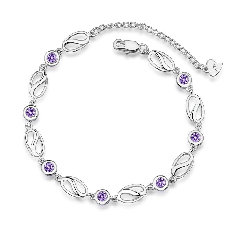Hot 925 Sterling Silver OL Style Bracelet for Women Shining AAAAA Cubic Zircon Crystal Charm bracelets Wedding Jewelry L32