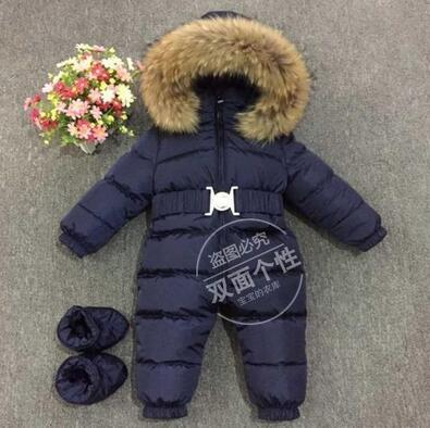 High quality children's  filling baby sleep snow suit wear, long sleeve with hood winter coat, Russian newborn hot jumpsuit