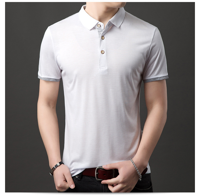 Mens Clothes New 2019 Summer Short Sleeve Polo Solid Slim Shirt Men Crease Grey Black Sport Casual Polos Breathable White Shirt