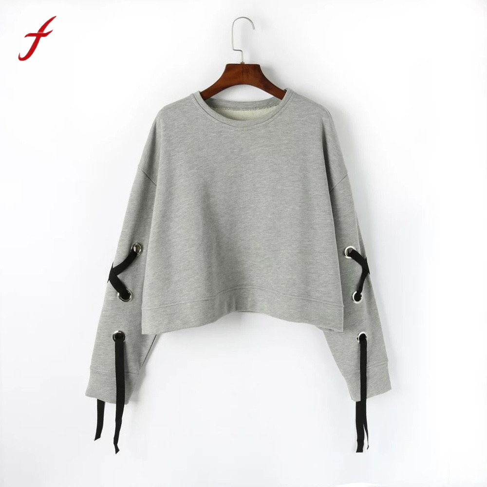 2017 New harajuku Fashion Womens hoodies bts Long Sleeve Sweatshirt O Neck Bandage Causal short paragraph Sweatshirts Tops