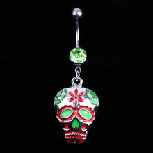 New Arrival Colorful Skull Shaped Stainless Alloy Belly Button Nailing Stud Ring Body Jewelry Gifts(China)