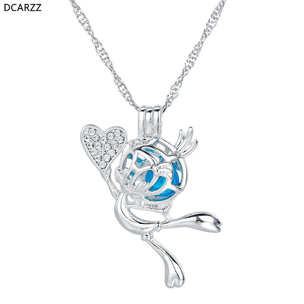 Tweety Bird Cage Pendant Crystals Heart Charm Silver Necklace Cute Cartoon Character Necklaces Kids Gift Pearl