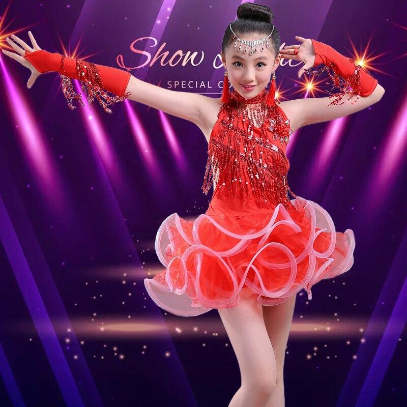 Платья для латинских танцев, распродажа, бальные платья размера плюс, платье с бахромой, штаны, бахрома для сальсы, костюм самбы для детей, девочек - Цвет: red