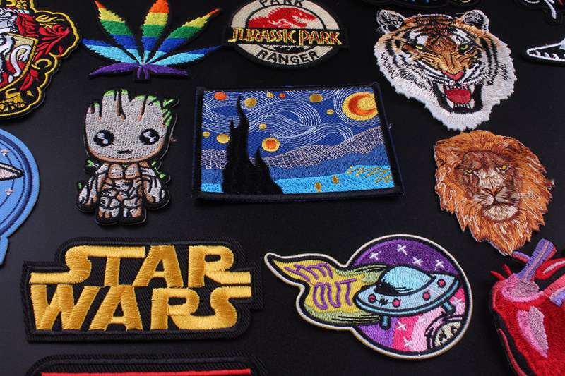 HTB19ou1VHrpK1RjSZTEq6AWAVXaC Prajna Star Wars Embroidered Patches For Clothes Stickers Stripes Hippie Patch Groot Iron On Patches Applique Sticker Galaxy