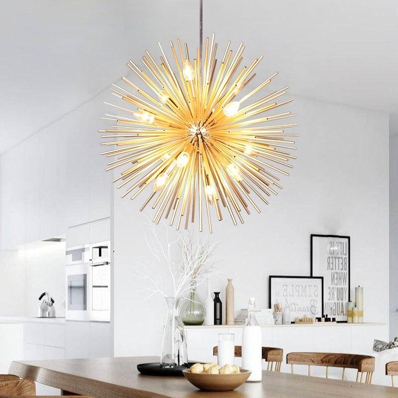 IKVVT Art Led D'or Pendentif Lumières Moderne Simple Alulminum Pissenlit Lampe Suspendue pour Restaurant Salon Heotel Salon Déco