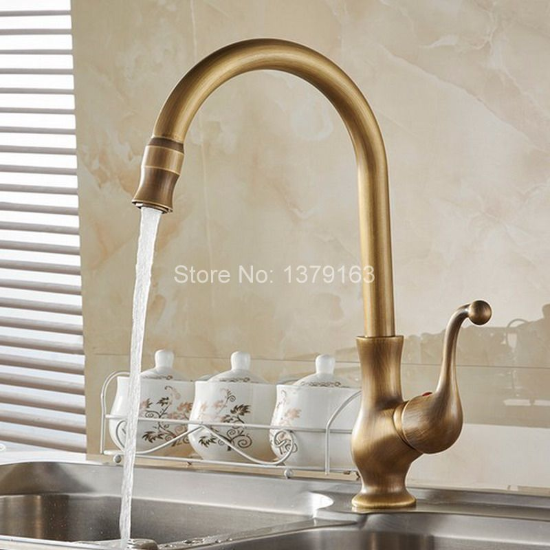 Vintage Retro Antique Brass Single Handle Swivel Spout Kitchen Sink Faucet  Cold & Hot Mixer Tap asf110 antique brass swivel spout dual cross handles kitchen