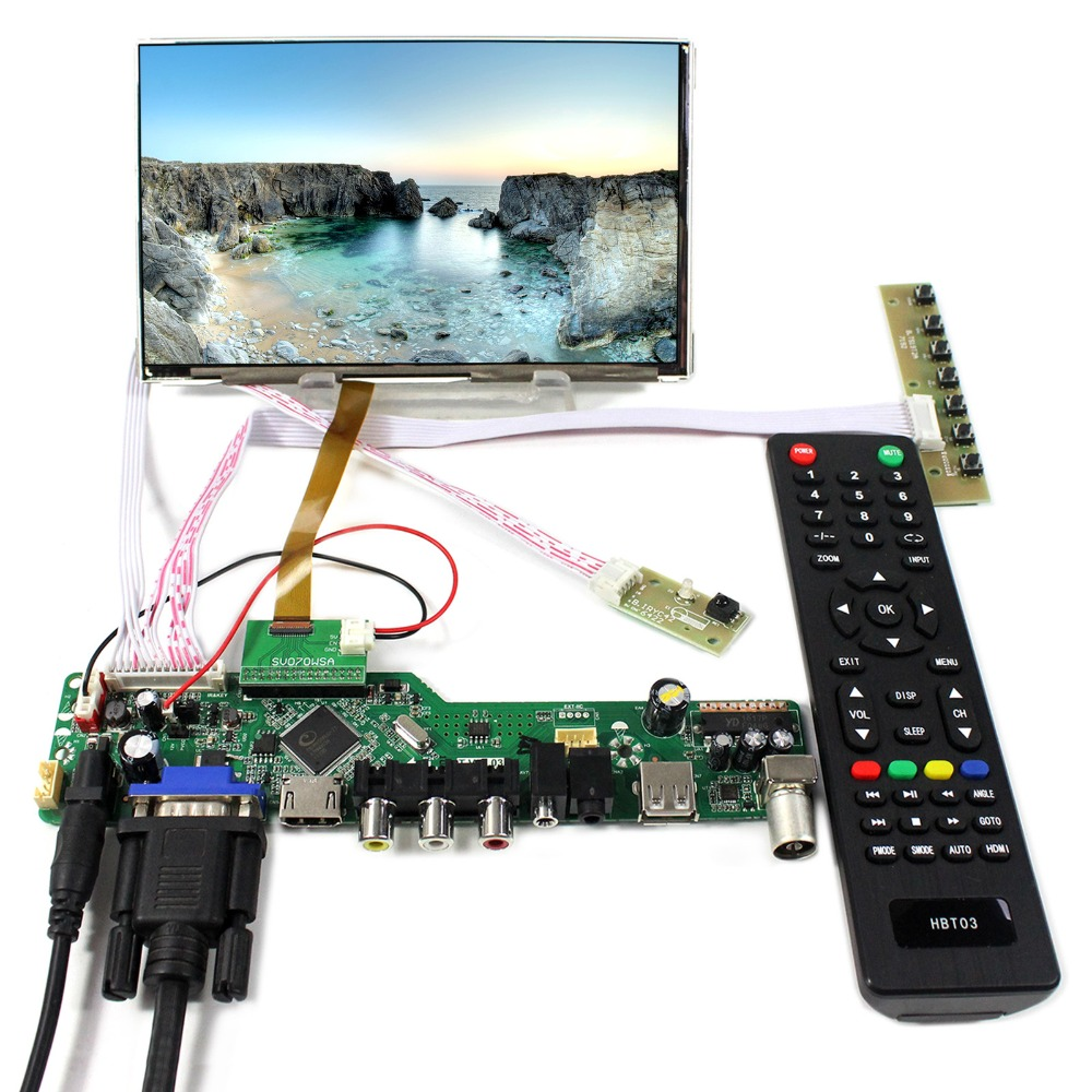 TV+PC+HDMI+CVBS+RF+USB+AUDIO LCD Controller Board With 7inch HV070WSA-100 1024X600 LCD Screen tv pc hdmi cvbs rf usb audio driver board 13 3inch lp133wd1 sla1 1600x900 ips lcd