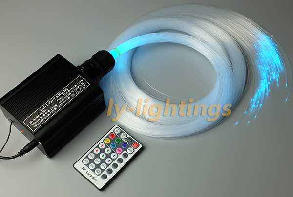 Decoration fiber optic light kit spark stars effect celing light RGBW 16W led light source+ 0.75mmx3mx300strands clear fibre decoration optical fiber light kit led light engine cables tailpieces fibre optic color change twinkle effect diy stars