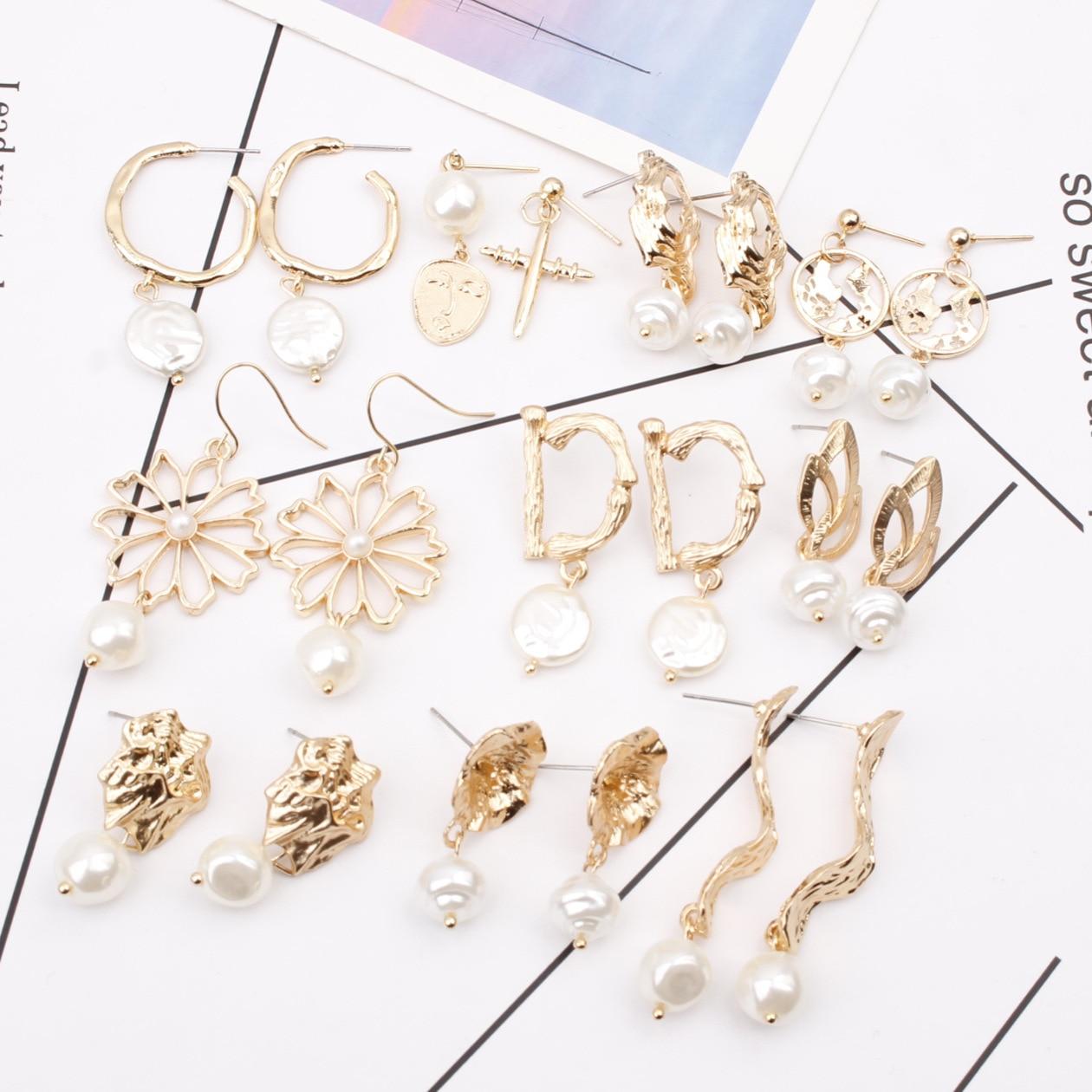 Ruifan Gold Color Korean Baroque Pearl Stud Earrings for Women Irregular Earing Women Accessories Fashion Jewelry 2019 YEA289