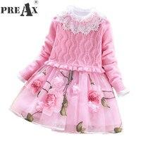Girl Princess Dress 2018 New 10 Years Girl Dress Sweater Dress Suit 2pcs Children Flower Mesh