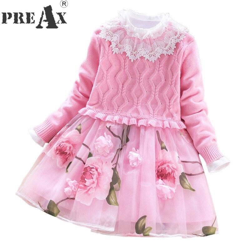 Girl Princess Dress 2018 New 10 Years Girl Dress Sweater Dress Suit 2pcs Children Flower Mesh Patchwork Party Wedding Dresses