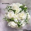 Брошь Свадебный Букет Для Невест Свадебная Искусственный Розовыми Цветами Свадебный Бросьте Зеленый Leaframos Де Novia Прямых Продаж