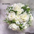 Brooch Wedding Bouquet For Brides Mariage Artificial Rose Flowers Bridal Throw Green Leaframos De Novia Direct Selling