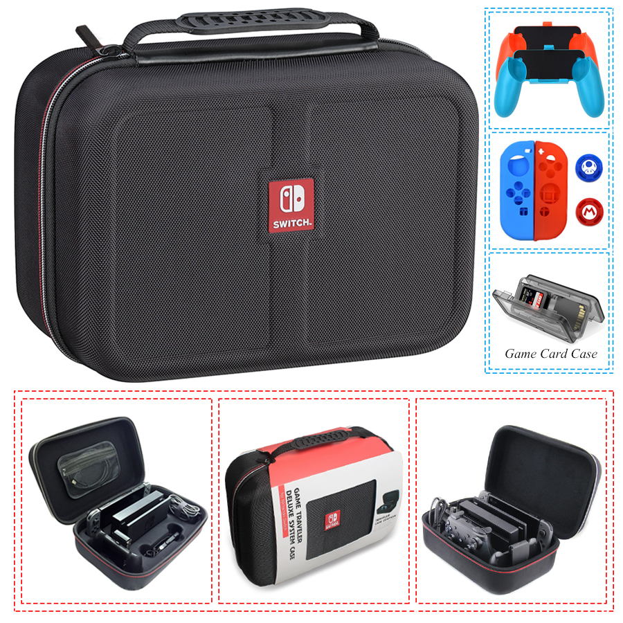 Nintend Switch NS Accessories Console Carrying Storage Bag Hard Case Joystick Handle Grips + Silicone Case for Nintendo Switch smatree n500 for switch case handbags ns carrying case storage carrying case portable travel bag for nintend switch accessories