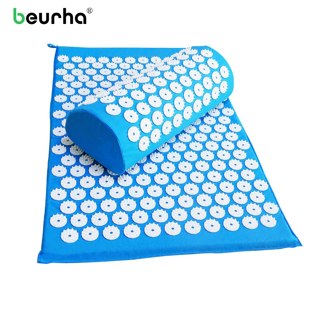 цена на Acupressure Mat with Pillow Body Neck Yoga Massager Cushion Mat Relieve Stress Pain Muscle Acupuncture Massage Spike Relaxation