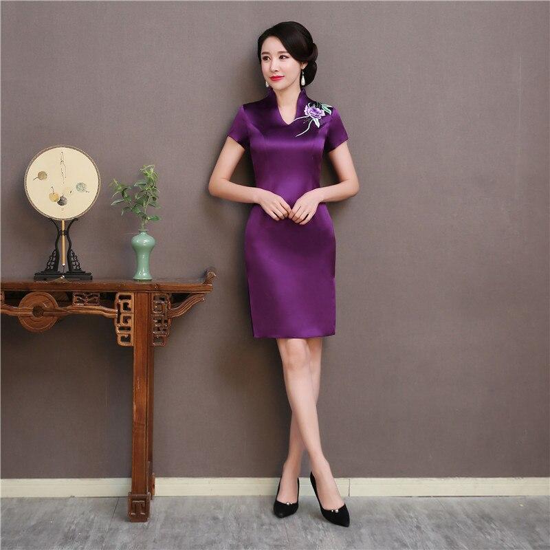 Traditionnel Suzhou broderie fleur Qipao élégant femmes Slim manches courtes Cheongsam violet Vestidos chinois femme tenue décontractée