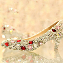Kristall dame formale schuhe Jeweled 5 cm Niedrigen Ferse Braut Abend Prom Party Hochzeit Kleider Brautjungfer Schuhe Weihnachtsgeschenk